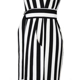 Bohoartist Summer Women's Jumpsuit Black White Striped Sleeveless Halter Romper Belts Sexy Backless Loose Ladies Long Jumpsuits