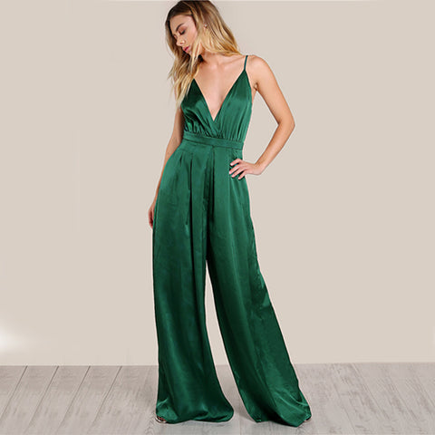 Elegant Cami Jumpsuit Women Box Pleated Sexy V Neck Jumpsuits Sleeveless Jumpsuit