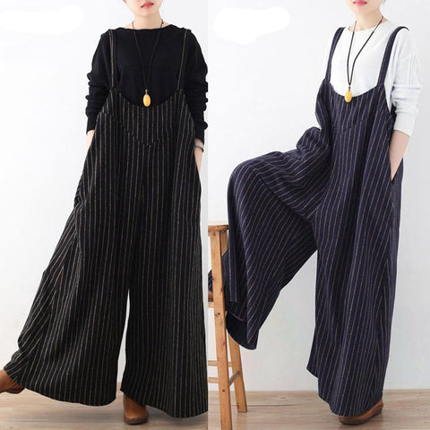 Rompers Women Jumpsuit 2018 Autumn Striped Playsuit Vintage Backless Casual Loose Jumpsuits