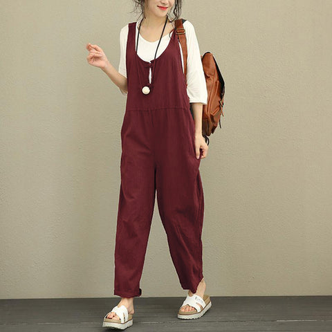 Women Jumpsuit 2018 Autumn Female Sleeveless Backless Solid Vintage Linen Casual Loose Rompers