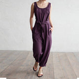 Women Jumpsuit 2018 Summer Trouser Office Work Harem Pants Sleeveless Rompers