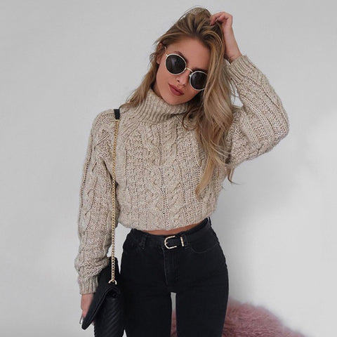 Autumn Winter Sexy Plus Size Thick Turtleneck Long Sleeve Short Pullovers Solid Slim Twisted Sweater