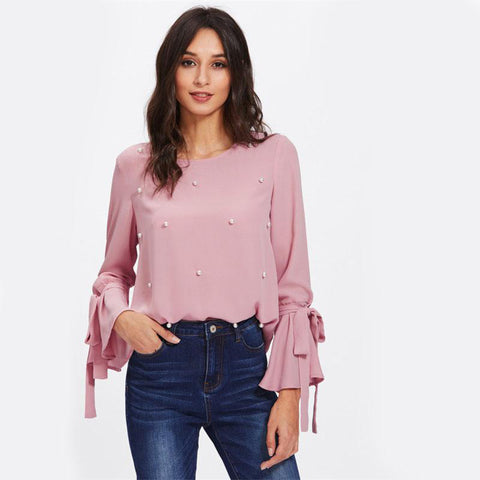 Pearl Bow Tied Flounce Sleeve Pink Round Neck Ruffle Woman Blouse