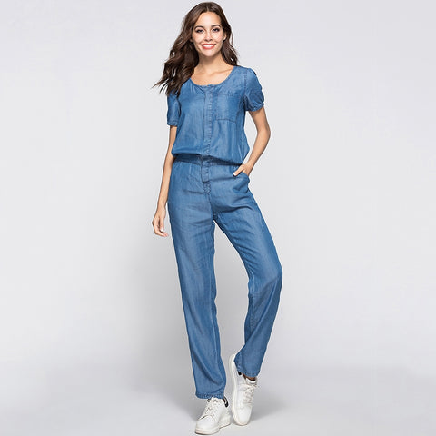 Womens Denim Jumpsuit Blue Long Pants 2018 Fashion Loose Plus Size Women Jumpsuits
