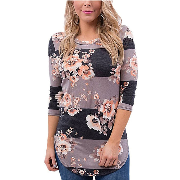 Fashion Casual Long Sleeve Printed Floral Flower T Shirt