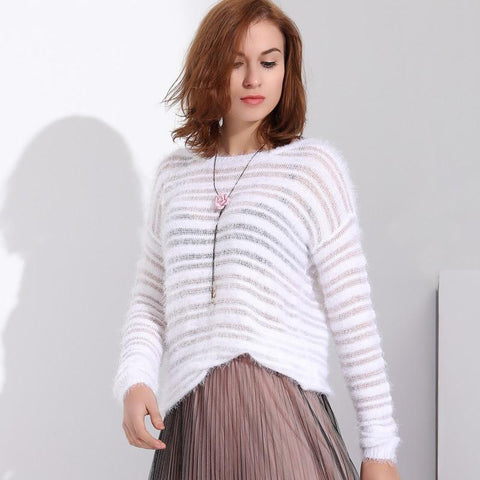 Mohair Pullover Knitted Long Sleeve Loose O-Neck Hedging Sweater