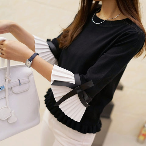 2018 New Fashion Spring Autumn Chiffon Flare Sleeve Bow Pullover Slim High Quality Sweater