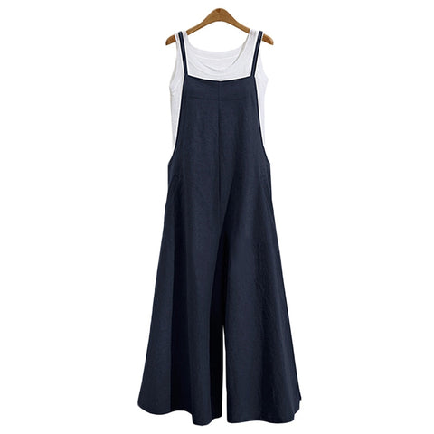 2018 New Summer Women Casual Solid Strap Wide Leg Pants Pockets Romper Loose Cotton Linen Jumpsuits