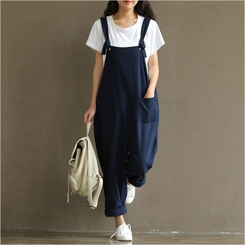 2018 Summer Autumn Rompers Womens Jumpsuits Vintage Sleeveless Backless Casual Loose Solid Overalls Strapless Paysuits