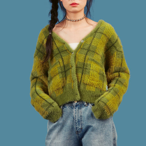 Vintage Plaid Button Cropped Cardigans Green Sweater