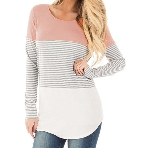 Long Sleeve Striped T Shirt Women 2018 Summer Casual Loose Tee Shirt