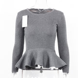 2018 Autumn Spring Slim Pullover Long Sleeve O Neck Ruffle Casual Knitted Sweater