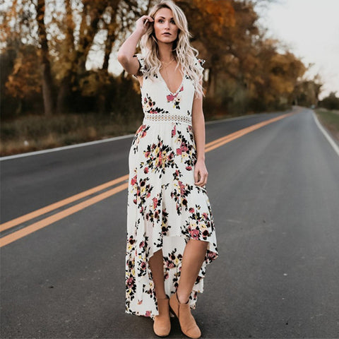 Elegant Flower Print Lace Maxi Dress