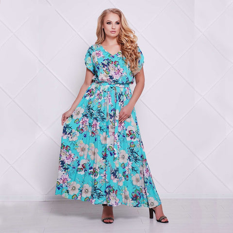 Maxi Dress 2018 Summer plus size Long Dress Casual loose Floral Print Chiffon Dresses