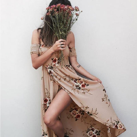 Loose Shoulder Beach Floral Print Chiffon Maxi Dress