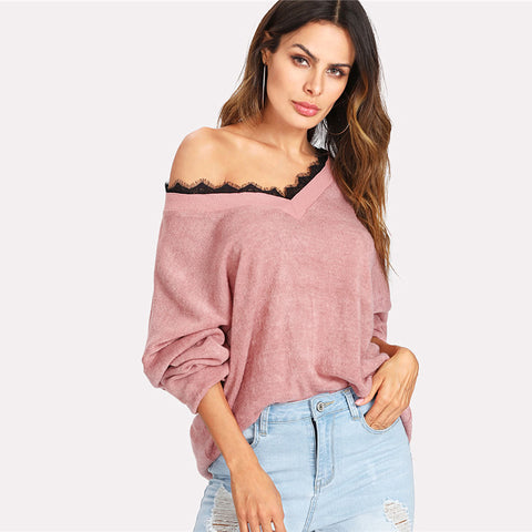2018 Autumn V Neck Soft Casual Pink Solid Lace Knitted Sweater