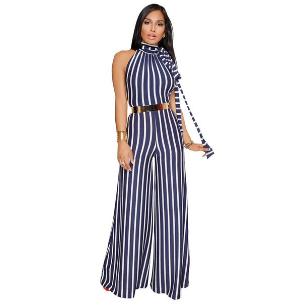 Striped Jumpsuits Women Wide Leg Pants Summer Female Overalls Sexy Backless Party Club Jumpsuit