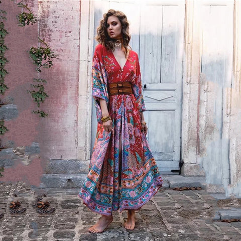 2018 Bohemian Maxi Dress Women Lotus Dress Print Long Dress V Neck Dress