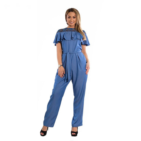 Plus Size Summer Jumpsuit Women 2018 Lace Ruffles Rompers Overalls Big Size Large Size Jumpsuit