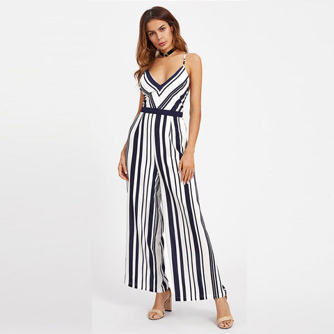 V neck Backless Striped Jumpsuit Women Straps Sleeveless Crisscross Tie Detail Sexy Jumpsuit
