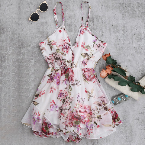 2018 Summer Holiday Floral Print Women Sexy Flower Chiffon Romper