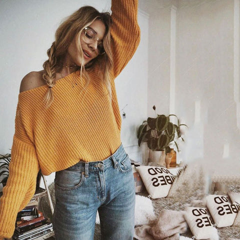 2018 Spring Oversized  Long Sleeve Knitwear Yellow Loose Sweater