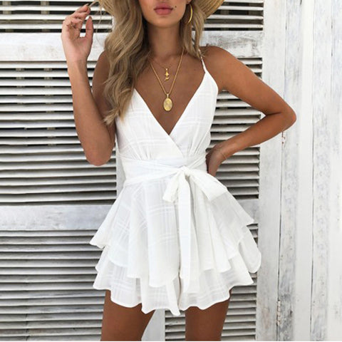 2018 V Neck Sexy Female Playsuit Plaid Boho Floral Romper