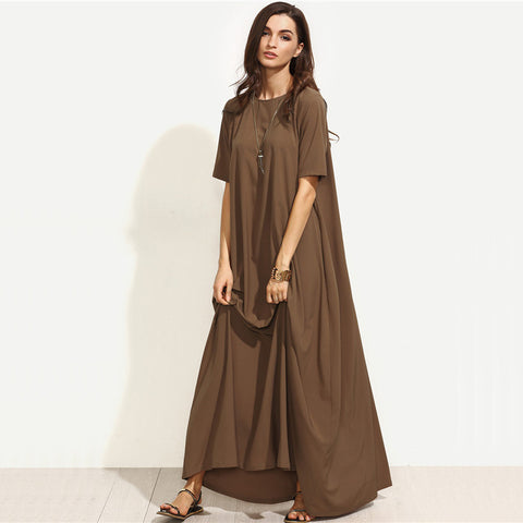 Summer Casual Long Dresses For Woman Plain Brown Maxi Dress