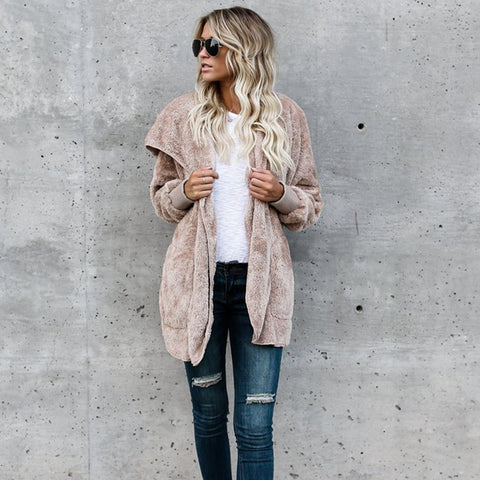 Oversize Winter Casual Loose Long Sleeve Fur Cardigans  Sweaters
