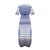 Spring boho Striped Plus Size Maxi Dress