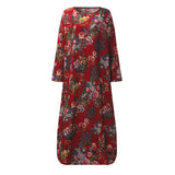 Cotton Linen Long Maxi Dress 2018 Summer Women Long Sleeve Floral Printed Casual Loose Dress