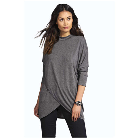 Casual Loose Split Hem Long T Shirt Women 2018 Autumn Cotton Tee Shirt