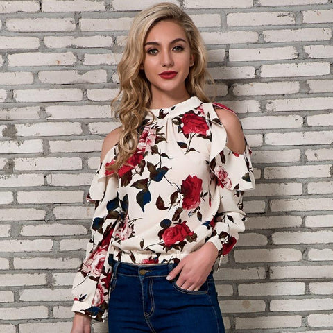 Cold Shoulder Tops Womens 2018 New Arrivals Spring Long Sleeve Blouses