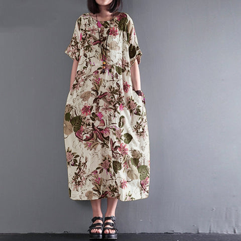 2018 Summer Women Vintage Floral Print Dress Short Sleeve Pocket Cotton Long Maxi Dress