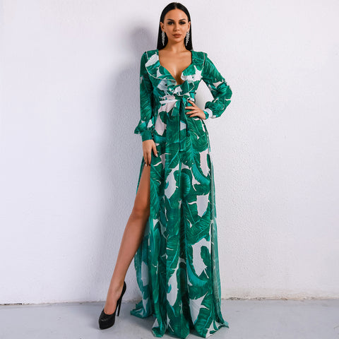 2018 Summer DeepV Print Beach Maxi Dress