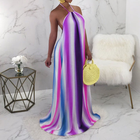 2018 New Sexy Beach Dress Halter Backless Maxi Long Dress Colourful Printed Vacation Dress