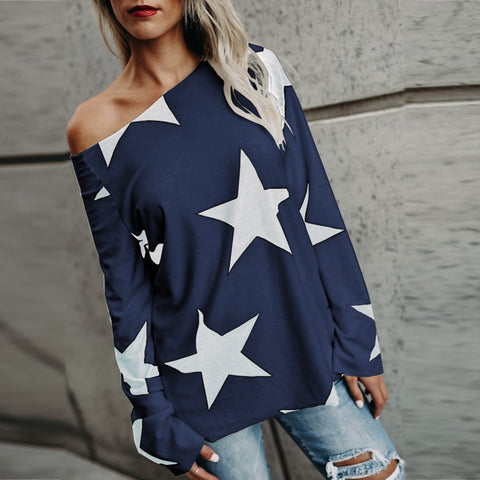 Autumn Women Tshirt 2018 Spring Strapless Star Printed Long Sleeve Crop T-shirt