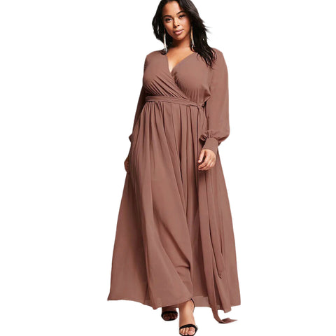 2018 Plus Size Lace Up V-neck Long Sleeve Maxi Dress