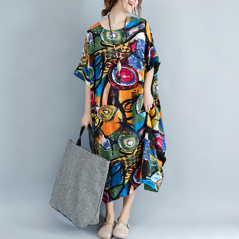 Women Dress Plus Size Summer Pattern Print Linen Colorful Loose Dresses