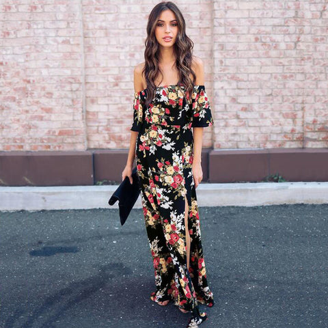 2018 Hot Women Bohemian Maxi Long Dress Off Shoulder Flower Print Dress