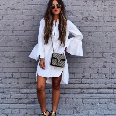 2018 Women White Long Shirt Flare Sleeves Retro Blouse Dress