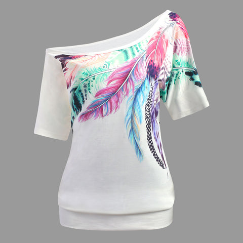 Plus Size Feather Print Skew Collar T-Shirt Women Tops Summer Casual T Shirt