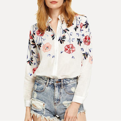 White Embroidery Long Sleeve Shirts Floral Button Top 2018 Spring Women Blouse