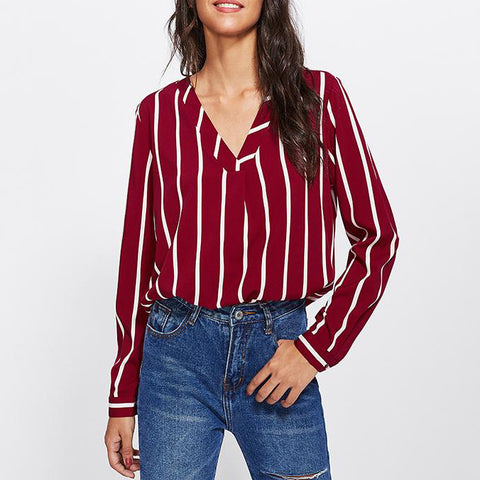 Red Striped Work Shirt V-Placket Curved High Low Office Blouse