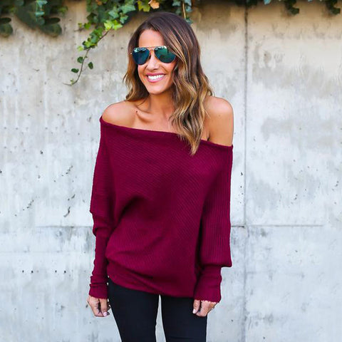 2018 Off Shoulder Casual Long Batwing Sleeve Knitted Sweater