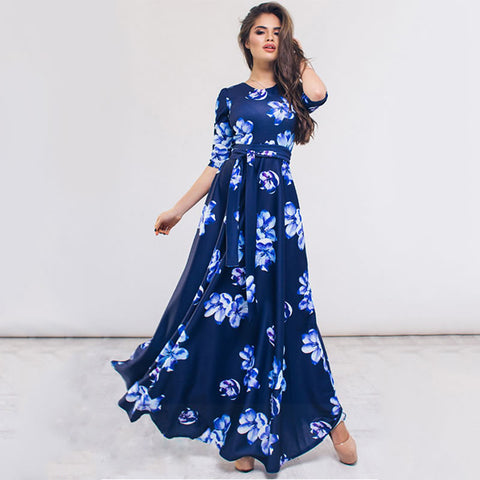 2018 Flower Print Summer Long Dress Sexy Maxi Dresses