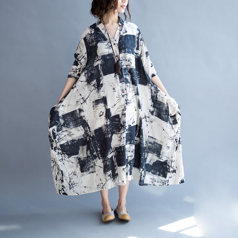 2018 Big Size Women Dress Linen Long Cardigan Blouse Summer Painted Elegant Dresses