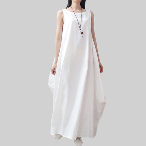 Fashion 2018 Summer Women Cotton Linen Dress Casual Loose Long Maxi Dresses
