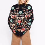 2018 Round Collar Flowers Embroidery Loose Autumn Long Sleeve New Fashion Sweater