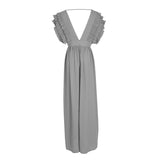 2018 New Fashion Sexy V Neck Backless Flying Short Sleeves Solid Beach Party Maxi Dress